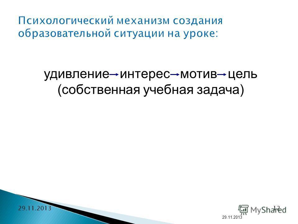 12 удивление интерес мотив цель (собственная учебная задача) Психологический механизм создания образовательной ситуации на уроке: 29.11.2013