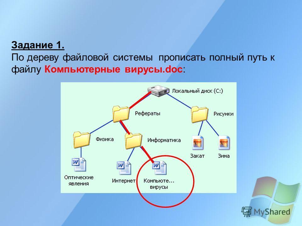 Задание 1. По дереву файловой системы прописать полный путь к файлу Компьютерные вирусы.doc: