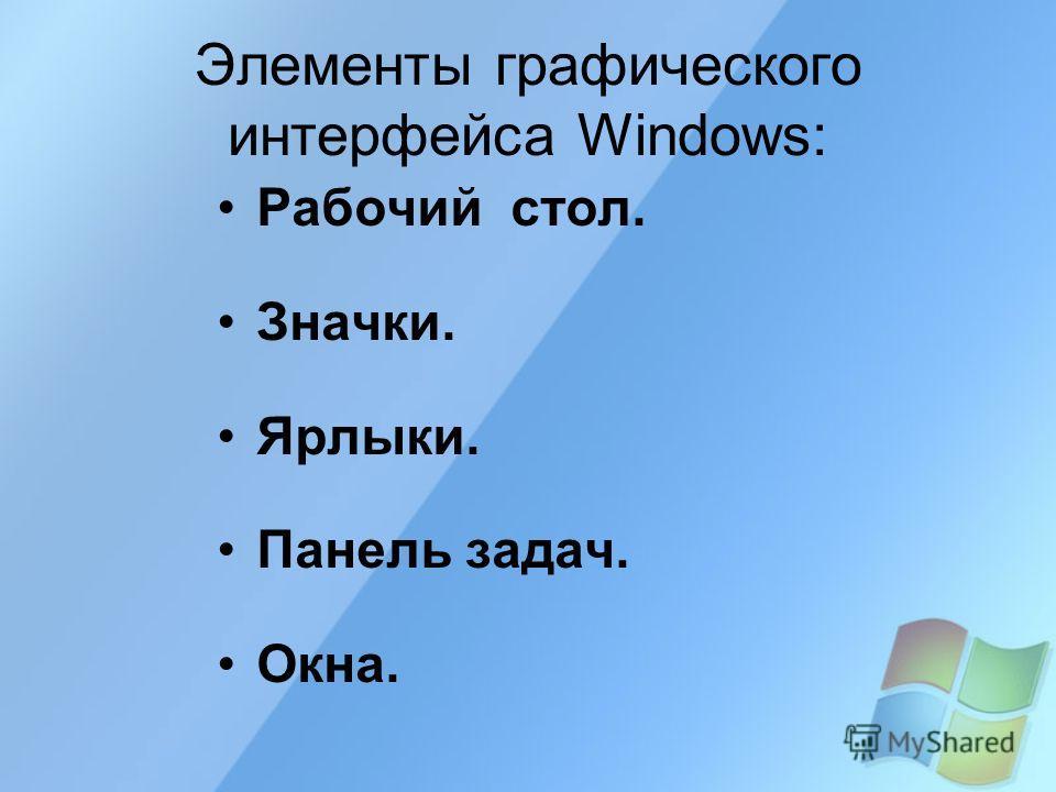 Элементы графического интерфейса Windows: Рабочий стол. Значки. Ярлыки. Панель задач. Окна.