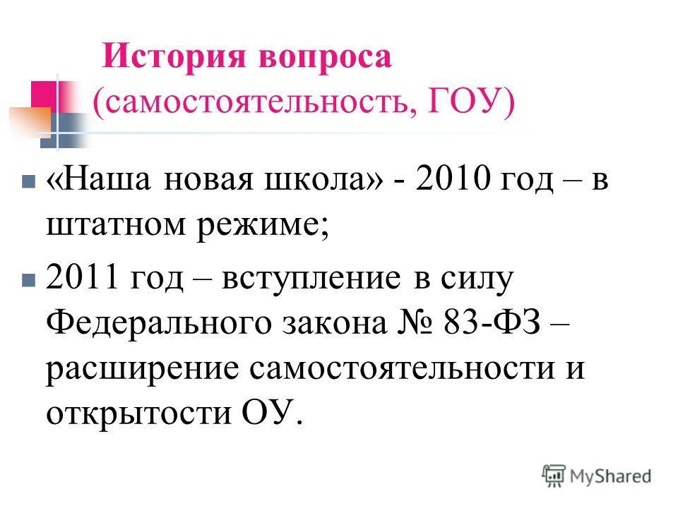 История вопроса (самостоятельность, ГОУ) «Наша новая школа» - 2010 год – в штатном режиме; 2011 год – вступление в силу Федерального закона 83-ФЗ – расширение самостоятельности и открытости ОУ.
