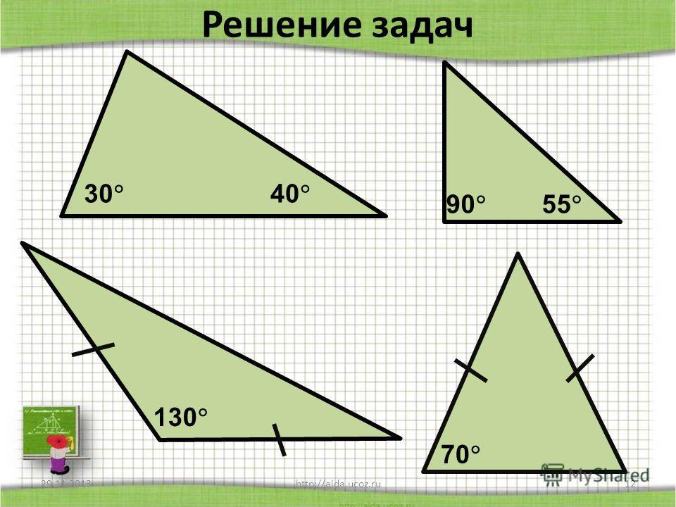 Теорема о сумме углов треугольника 29.11.2013http://aida.ucoz.ru11 А В С 1 2 3 Дано: Δ АВС. Доказать: 1+ 2+ 3=180. План доказательства: 1.Доп. построение: а ǁ АС; 2.Доказать равенство углов 1 и 4, 3 и 5; 3.Найти сумму углов 2,4,5; 4.Сделать вывод про