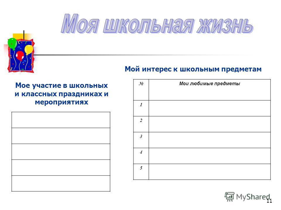 11 Мои любимые предметы 1 2 3 4 5 Мой интерес к школьным предметам Мое участие в школьных и классных праздниках и мероприятиях