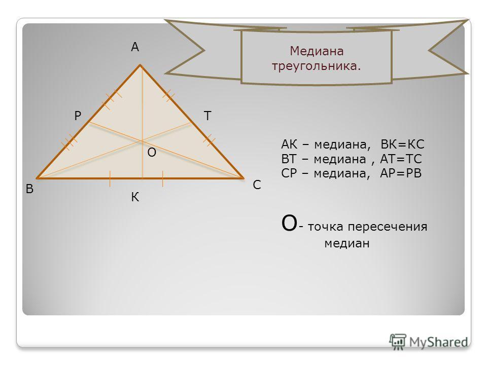 А В С РТ К АК – медиана, ВК=КС ВТ – медиана, АТ=ТС СР – медиана, АР=РВ О - точка пересечения медиан О Медиана треугольника.