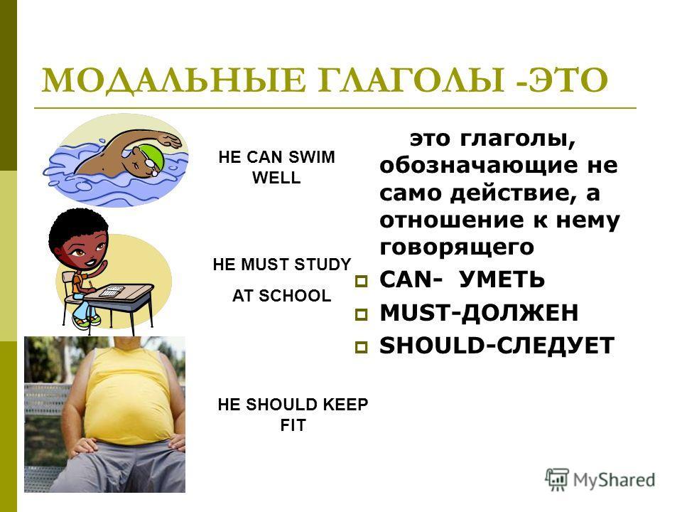 МОДАЛЬНЫЕ ГЛАГОЛЫ -ЭТО это глаголы, обозначающие не само действие, а отношение к нему говорящего CAN- УМЕТЬ MUST-ДОЛЖЕН SHOULD-СЛЕДУЕТ HE CAN SWIM WELL HE MUST STUDY AT SCHOOL HE SHOULD KEEP FIT