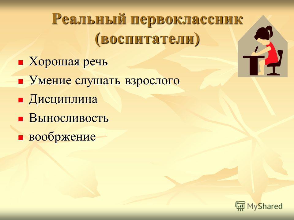 Реальный первоклассник (воспитатели) Хорошая речь Хорошая речь Умение слушать взрослого Умение слушать взрослого Дисциплина Дисциплина Выносливость Выносливость вообржение вообржение