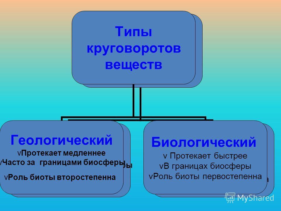 Типы круговоротов веществ