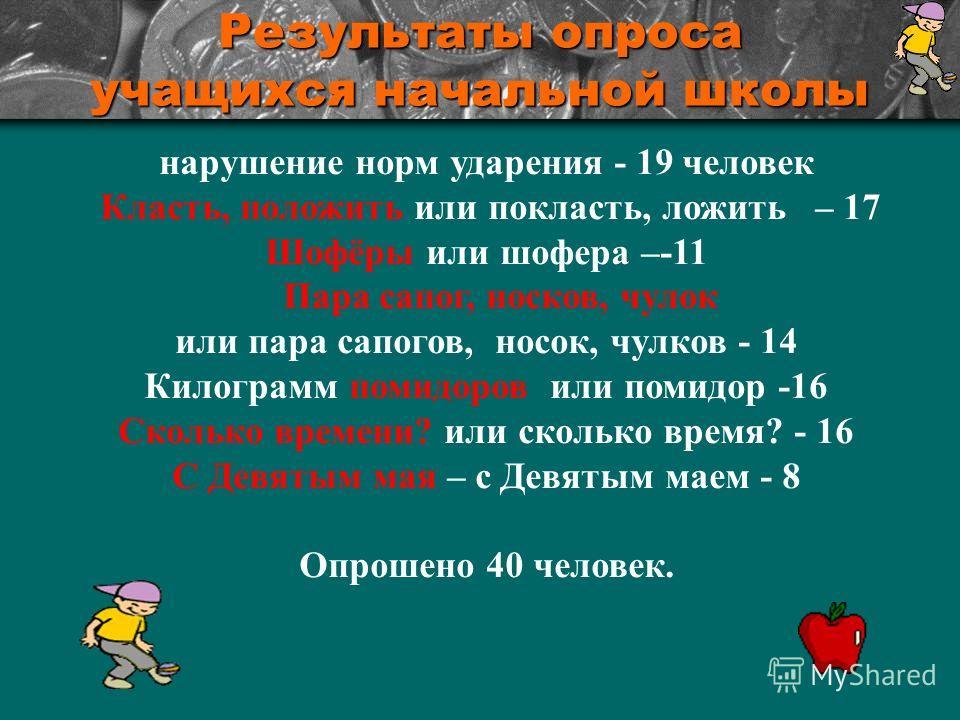 Результаты опроса учащихся начальной школы нарушение норм ударения - 19 человек Класть, положить или покласть, ложить – 17 Шофёры или шофера –-11 Пара сапог, носков, чулок или пара сапогов, носок, чулков - 14 Килограмм помидоров или помидор -16 Сколь