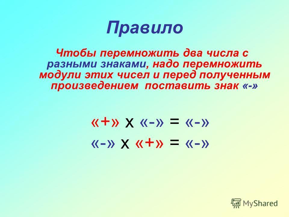 Правило Чтобы перемножить два числа с разными знаками, надо перемножить модули этих чисел и перед полученным произведением поставить знак «-» «+» х «-» = «-» «-» х «+» = «-»