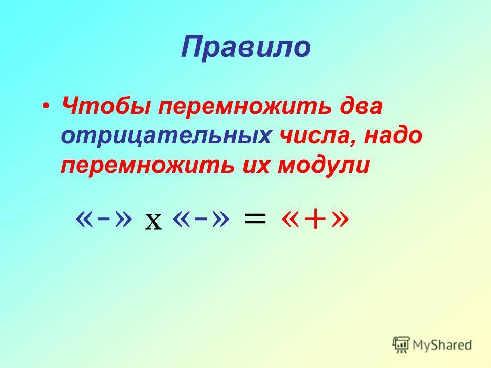 Правило Чтобы перемножить два отрицательных числа, надо перемножить их модули «-» х «-» = «+»