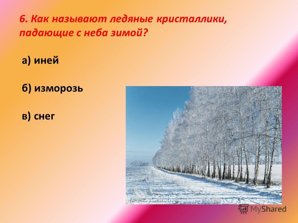 6. Как называют ледяные кристаллики, падающие с неба зимой? а) иней б) изморозь в) снег