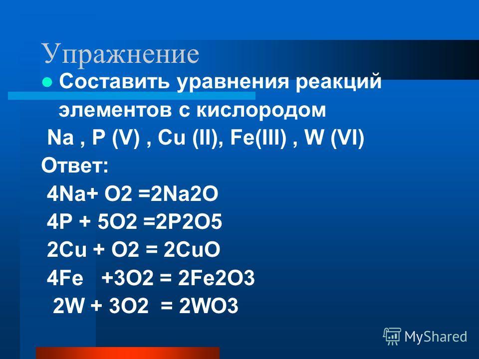 Упражнение Составить уравнения реакций элементов с кислородом Na, P (V), Cu (II), Fe(III), W (VI) Ответ: 4Na+ O2 =2Na2O 4P + 5O2 =2P2O5 2Cu + O2 = 2CuO 4Fe +3O2 = 2Fe2O3 2W + 3O2 = 2WO3