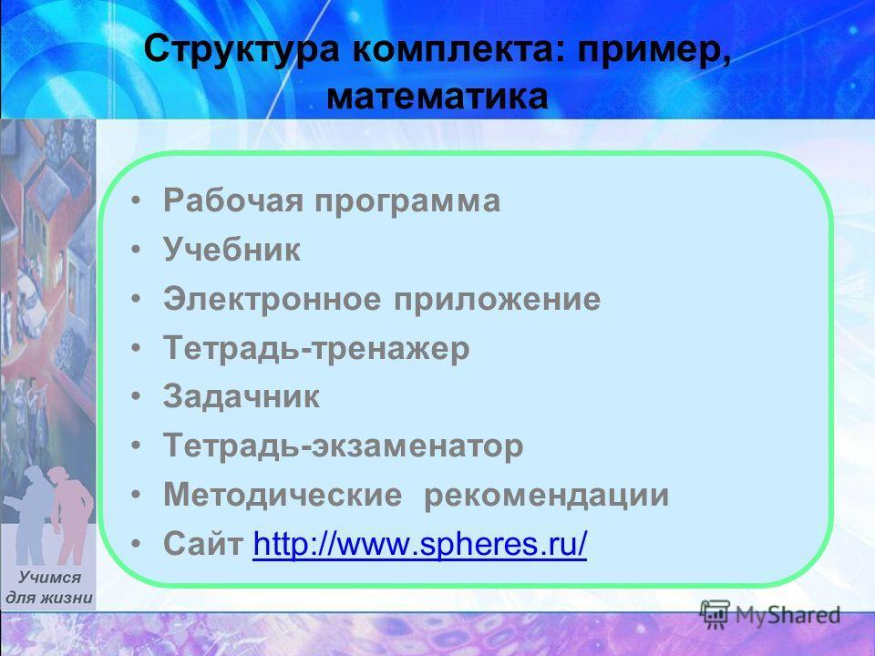 Структура комплекта: пример, математика Рабочая программа Учебник Электронное приложение Тетрадь-тренажер Задачник Тетрадь-экзаменатор Методические рекомендации Сайт http://www.spheres.ru/