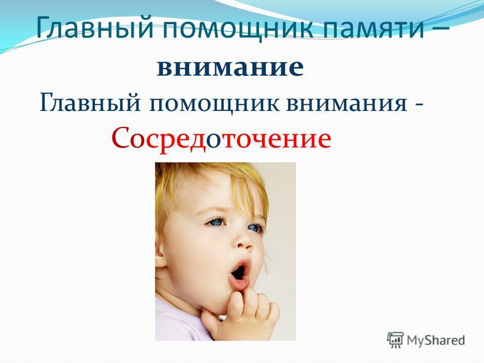 Главный помощник памяти – внимание Главный помощник внимания - Сосредоточение