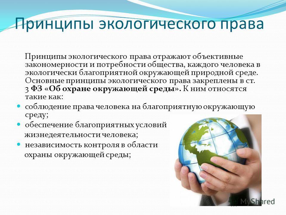 Принципы экологического права Принципы экологического права отражают объективные закономерности и потребности общества, каждого человека в экологически благоприятной окружающей природной среде. Основные принципы экологического права закреплены в ст.