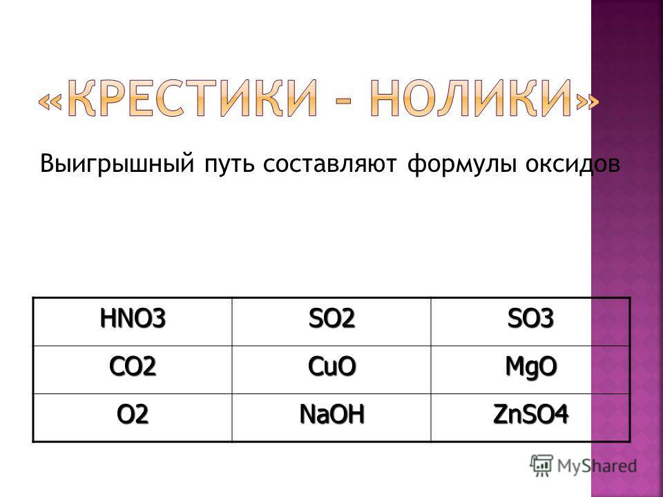 Выигрышный путь составляют формулы оксидовHNO3SO2SO3CO2CuOMgO O2NaOHZnSO4