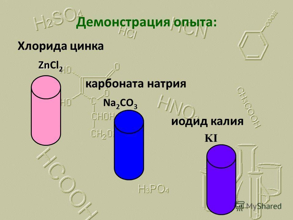 Демонстрация опыта: Хлорида цинка Zn ZnCl 2 карбоната натрия Na 2 CO 3 иодид калия KI