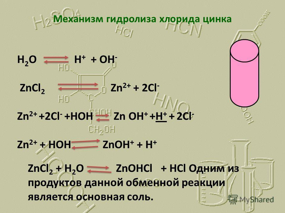 Механизм гидролиза хлорида цинка H 2 O H + + OH - ZnCl 2 Zn 2+ + 2Cl - Zn 2+ +2Cl - +HOH Zn OH + +H + + 2Cl - Zn 2+ + HOH ZnOH + + H + ZnCl 2 + H 2 O ZnOHCl + HCl Одним из продуктов данной обменной реакции является основная соль.