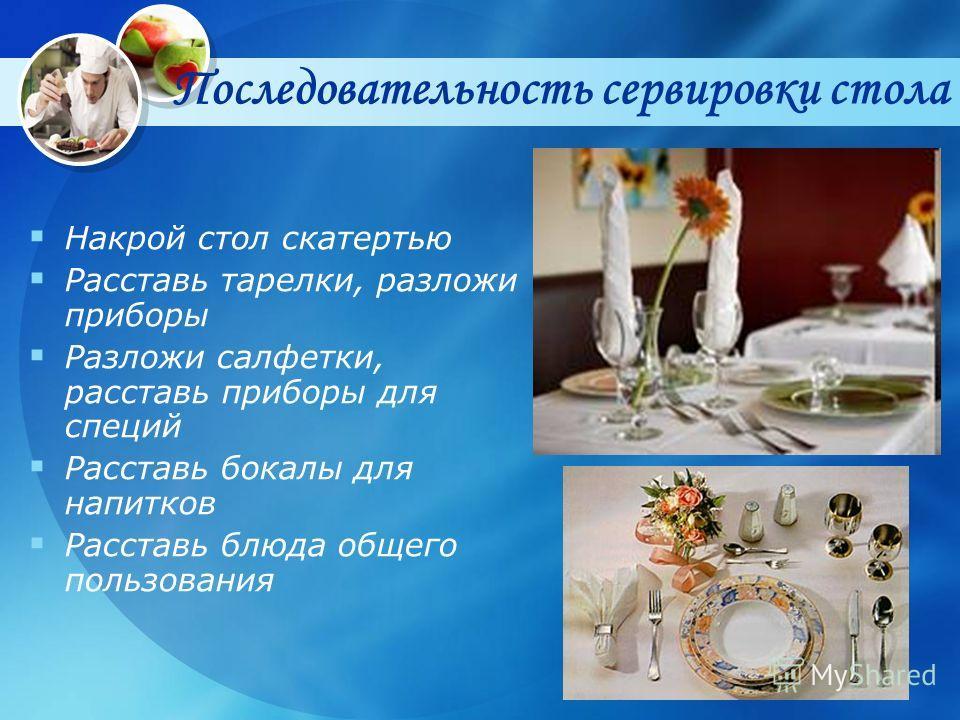 Последовательность сервировки cтола Накрой стол скатертью Расставь тарелки, разложи приборы Разложи салфетки, расставь приборы для специй Расставь бокалы для напитков Расставь блюда общего пользования