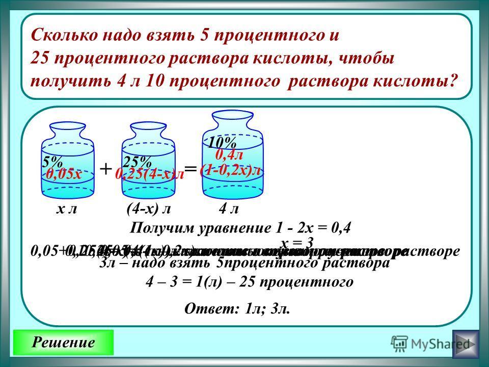 Решение Сколько надо взять 5 процентного и 25 процентного раствора кислоты, чтобы получить 4 л 10 процентного раствора кислоты? 5% 10% += 25% х л 0,25 · (4 - х) л – кислоты во втором растворе 4 л(4-х) л 0,4л (1-0,2х)л 0,05х0,25(4-х)л 0,05 х ( л )– ки