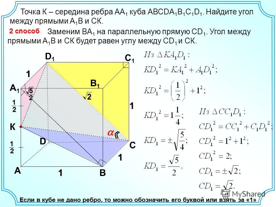 Точка К – середина ребра АА 1 куба АВСDA 1 B 1 C 1 D 1. Найдите угол между прямыми А 1 В и СК. D А В С А1А1 D1D1 С1С1 В1В1 1 1 12 К Если в кубе не дано ребро, то можно обозначить его буквой или взять за «1» Заменим BA 1 на параллельную прямую CD 1. У