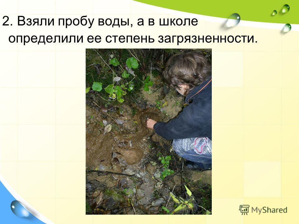 2. Взяли пробу воды, а в школе определили ее степень загрязненности.