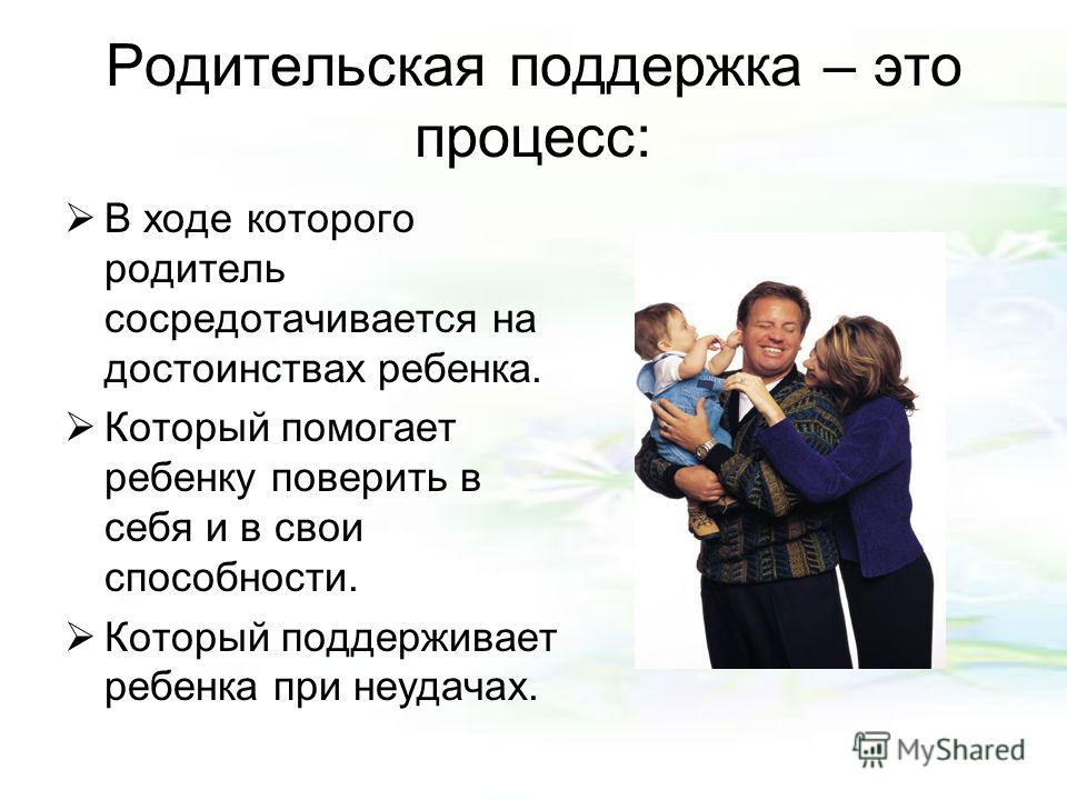 Родительская поддержка – это процесс: В ходе которого родитель сосредотачивается на достоинствах ребенка. Который помогает ребенку поверить в себя и в свои способности. Который поддерживает ребенка при неудачах.