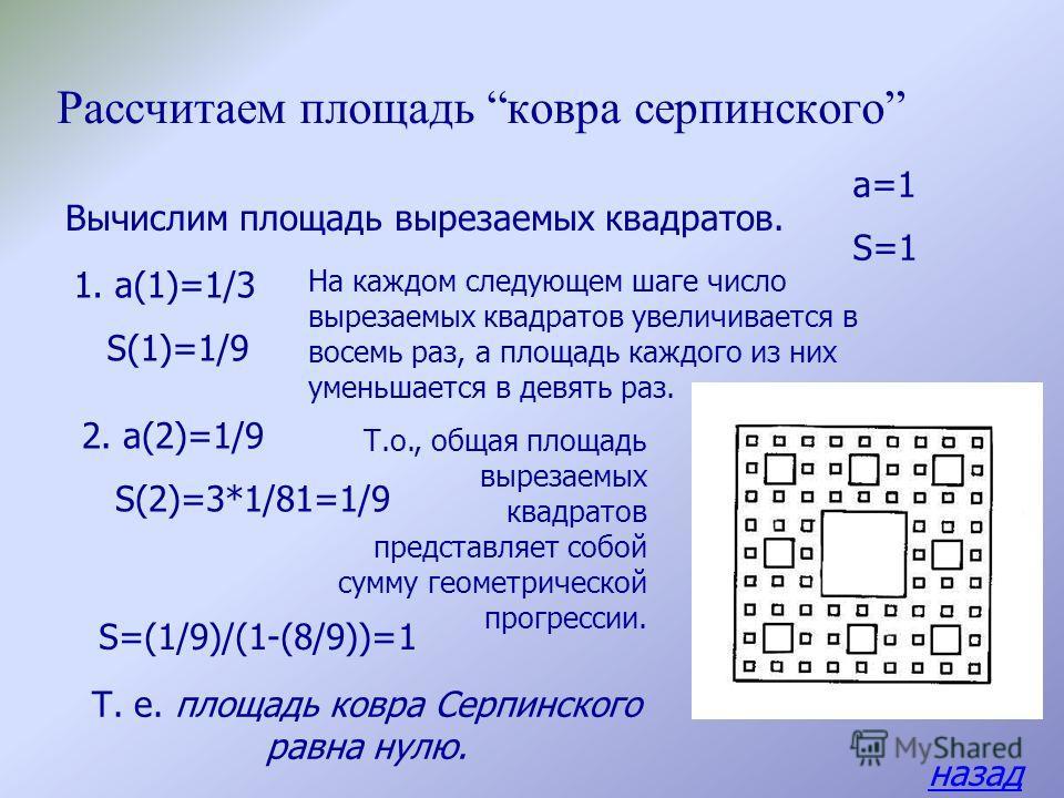 Рассмотрим автоподобную фигуру, придуманную польским математиком В. Серпинским (1882-1969) и называемую ковром Серпинского. Отметим, что поскольку вырезаемые квадраты распо лагаются все более часто, в результате на ковре Серпинского не будет ни одно