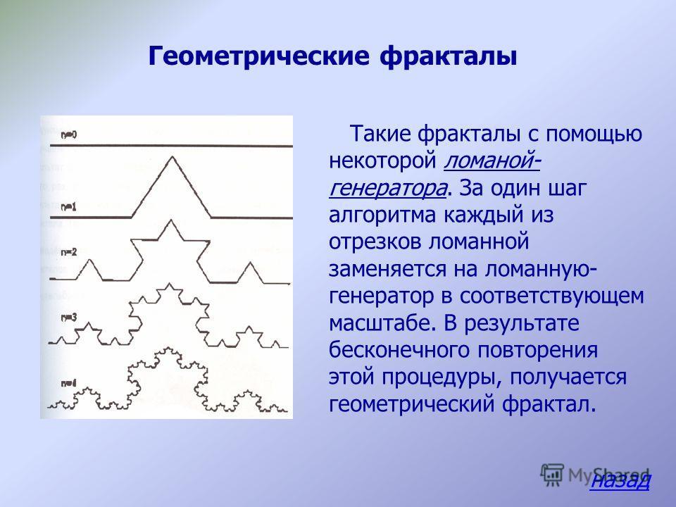 Классификация фракталов Геометрические фракталы Алгебраические фракталы Стохастические фракталы Для того, чтобы представить все многообразие фракталов удобно прибегнуть к их общепринятой классификации: назад