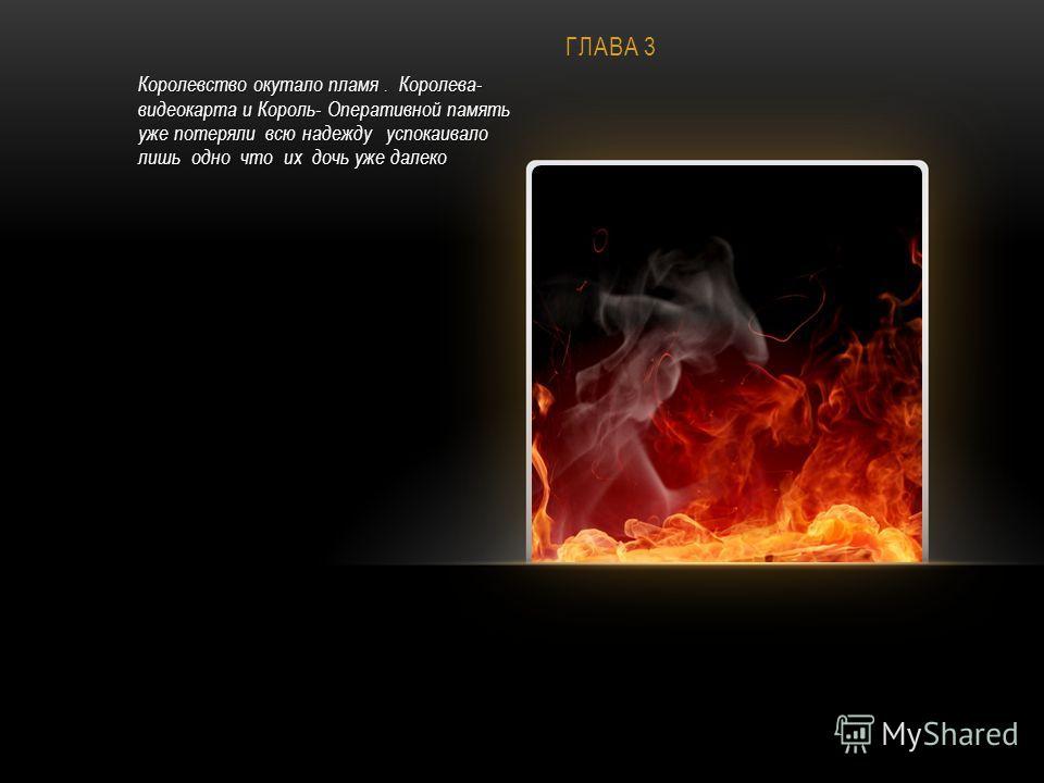 ГЛАВА 3 Королевство окутало пламя. Королева- видеокарта и Король- Оперативной память уже потеряли всю надежду успокаивало лишь одно что их дочь уже далеко