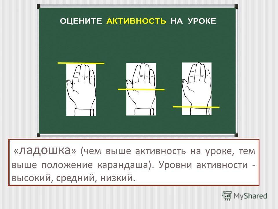 « ладошка » (чем выше активность на уроке, тем выше положение карандаша). Уровни активности - высокий, средний, низкий.