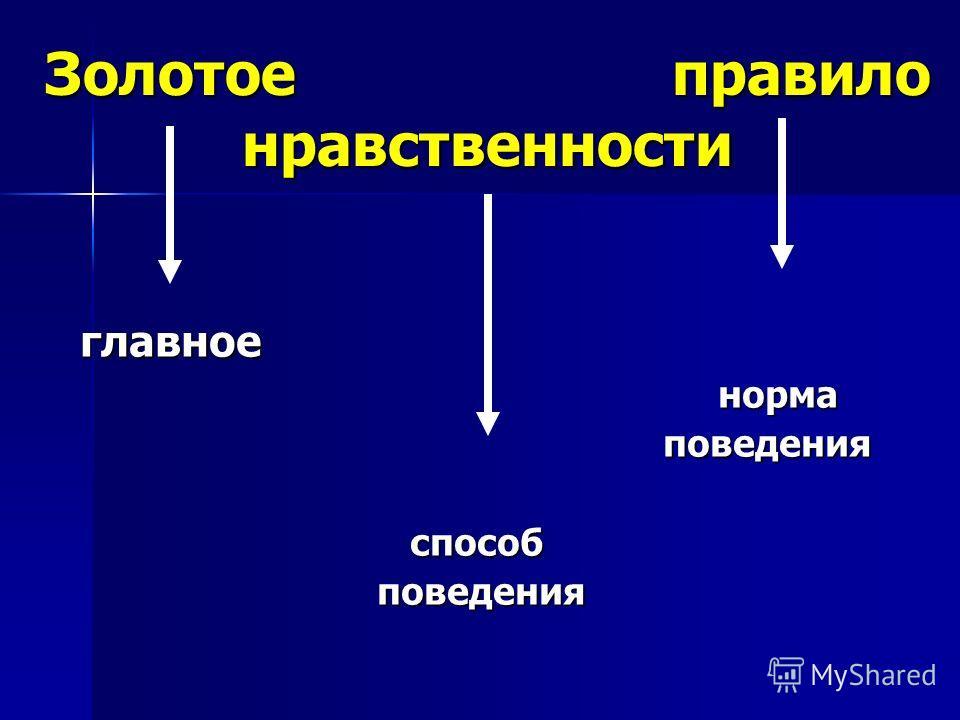 Золотое правило нравственности главное главное норма норма поведения поведения способ способ поведения поведения