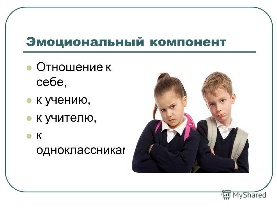Эмоциональный компонент Отношение к себе, к учению, к учителю, к одноклассникам