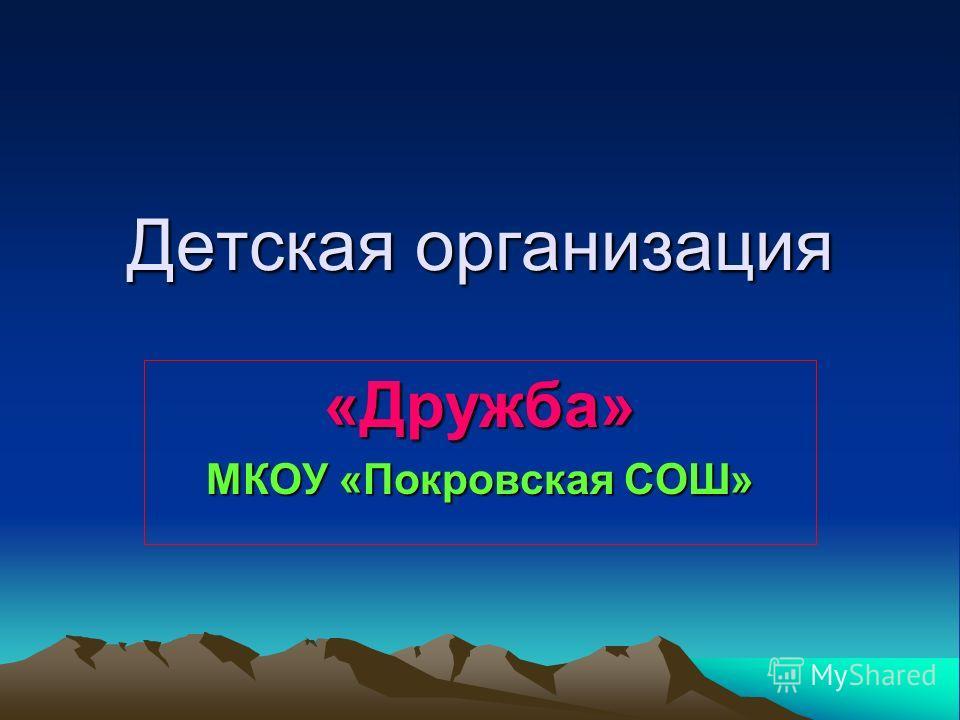 Детская организация «Дружба» МКОУ «Покровская СОШ»