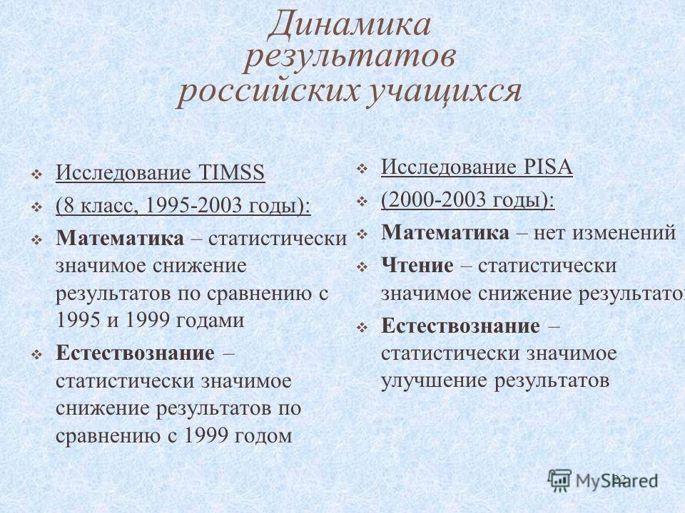 22 Динамика результатов российских учащихся Исследование TIMSS (8 класс, 1995-2003 годы): Математика – статистически значимое снижение результатов по сравнению с 1995 и 1999 годами Естествознание – статистически значимое снижение результатов по сравн