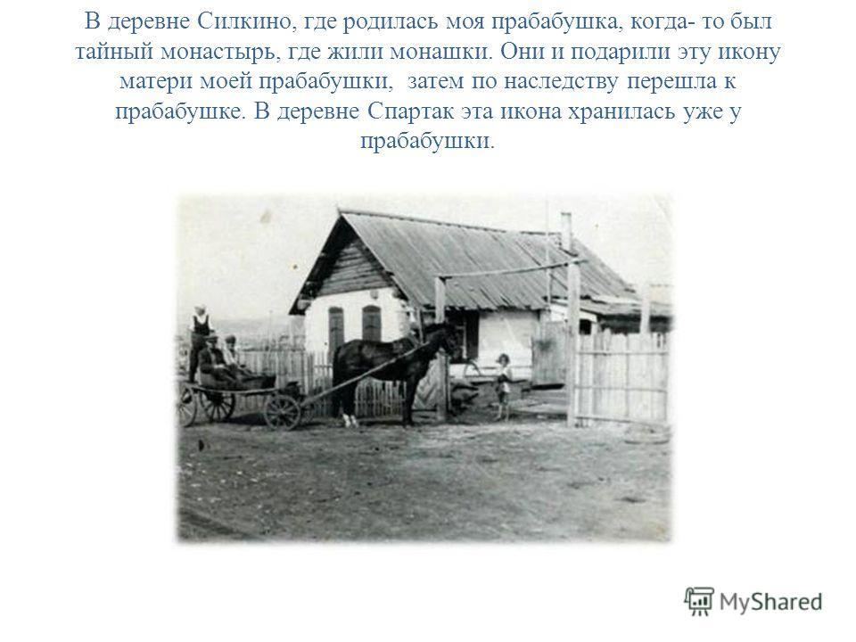 В деревне Силкино, где родилась моя прабабушка, когда- то был тайный монастырь, где жили монашки. Они и подарили эту икону матери моей прабабушки, затем по наследству перешла к прабабушке. В деревне Спартак эта икона хранилась уже у прабабушки.