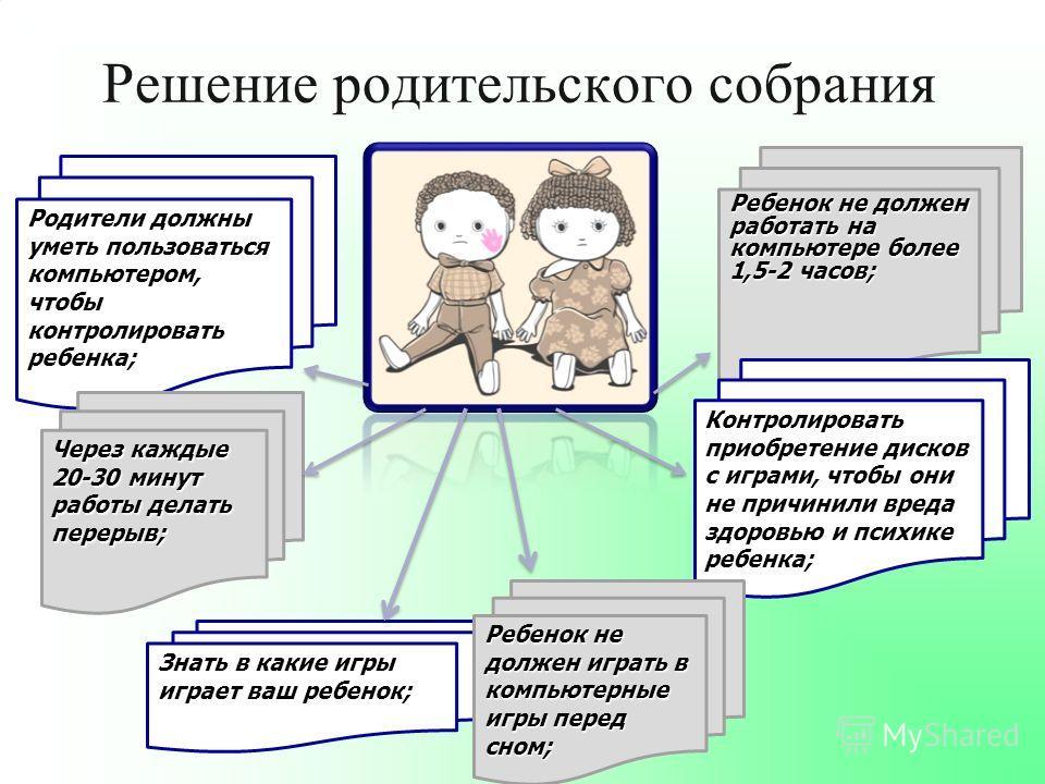 Решение родительского собрания Родители должны уметь пользоваться компьютером, чтобы контролировать ребенка; Через каждые 20-30 минут работы делать перерыв; Знать в какие игры играет ваш ребенок; Ребенок не должен работать на компьютере более 1,5-2 ч