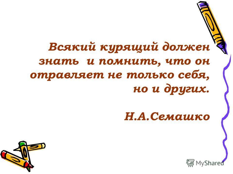 Всякий курящий должен знать и помнить, что он отравляет не только себя, но и других. Н.А.Семашко