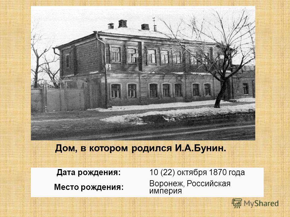 Дом, в котором родился И.А.Бунин. Дата рождения:10 (22) октября 1870 года Место рождения: Воронеж, Российская империя
