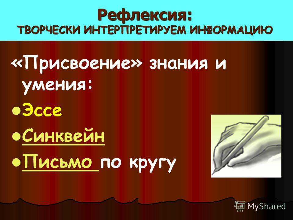 Рефлексия: ТВОРЧЕСКИ ИНТЕРПРЕТИРУЕМ ИНФОРМАЦИЮ «Присвоение» знания и умения: Эссе Синквейн Письмо по кругу Письмо