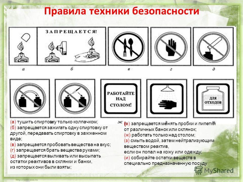 Правила техники безопасности (а) тушить спиртовку только колпачком; (б) запрещается зажигать одну спиртовку от другой, передавать спиртовку в зажженном виде; (в) запрещается пробовать вещества на вкус; (г) запрещается брать вещества руками; (д) запре