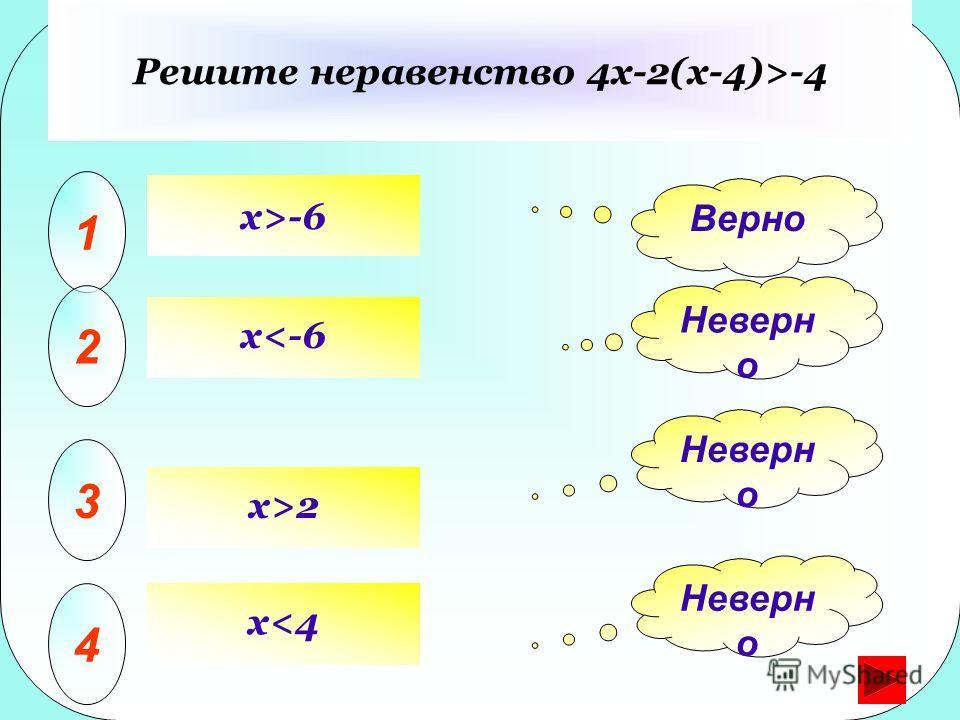 x>-6 Решите неравенство 4x-2(x-4)>-4 1 2 3 4 Верно Неверн о x2x>2 x