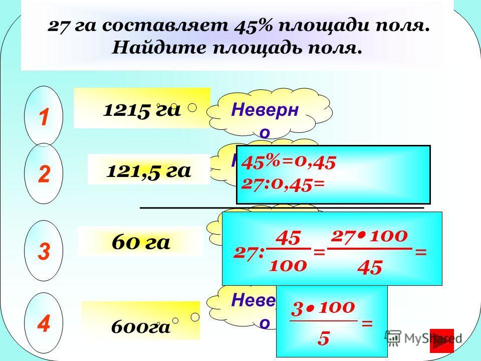 600га 1215 га 27 га составляет 45% площади поля. Найдите площадь поля. 1 2 3 4 Неверн о Верно Неверн о 121,5 га 60 га 45%=0,45 27:0,45= 27: 45 100 = 27 100 45 =