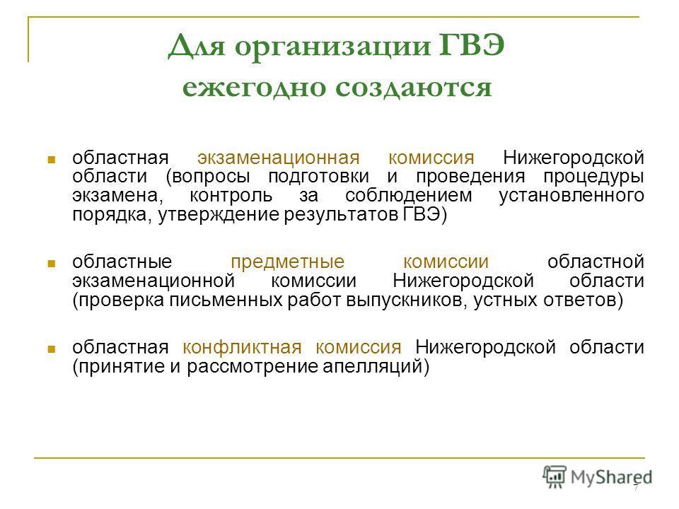 7 Для организации ГВЭ ежегодно создаются областная экзаменационная комиссия Нижегородской области (вопросы подготовки и проведения процедуры экзамена, контроль за соблюдением установленного порядка, утверждение результатов ГВЭ) областные предметные к