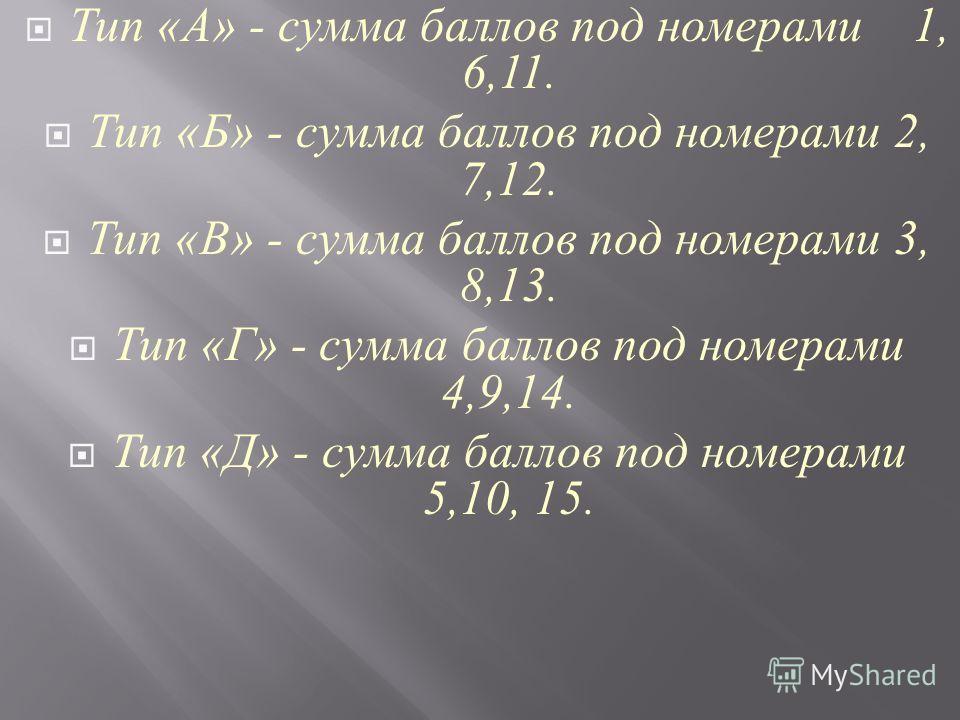 Тип « А » - сумма баллов под номерами 1, 6,11. Тип « Б » - сумма баллов под номерами 2, 7,12. Тип « В » - сумма баллов под номерами 3, 8,13. Тип « Г » - сумма баллов под номерами 4,9,14. Тип « Д » - сумма баллов под номерами 5,10, 15.
