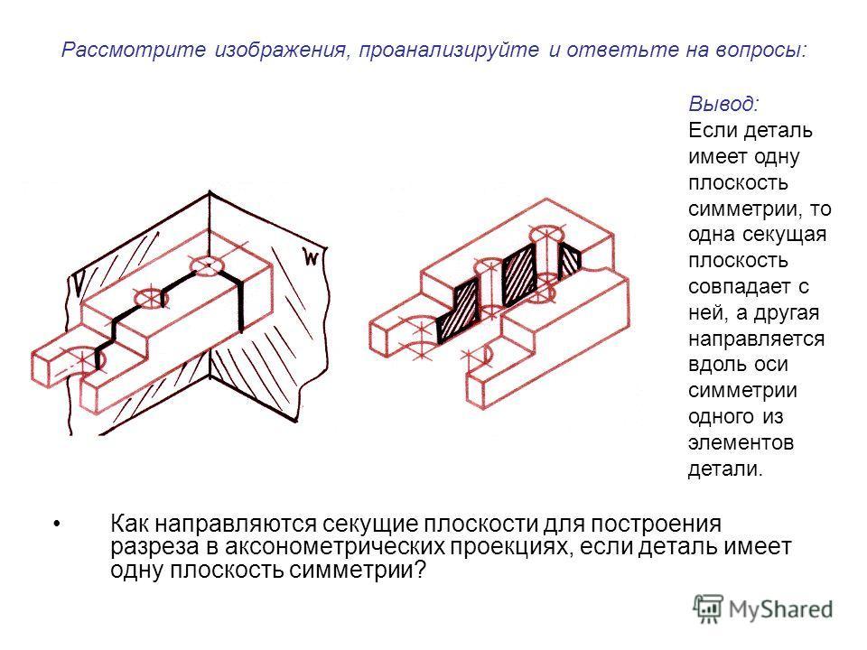 Рассмотрите изображения, проанализируйте и ответьте на вопросы: Как направляются секущие плоскости для построения разреза в аксонометрических проекциях, если деталь имеет одну плоскость симметрии? Вывод: Если деталь имеет одну плоскость симметрии, то