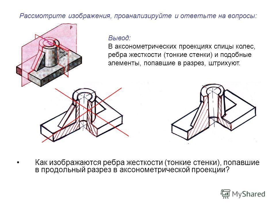Рассмотрите изображения, проанализируйте и ответьте на вопросы: Как изображаются ребра жесткости (тонкие стенки), попавшие в продольный разрез в аксонометрической проекции? Вывод: В аксонометрических проекциях спицы колес, ребра жесткости (тонкие сте