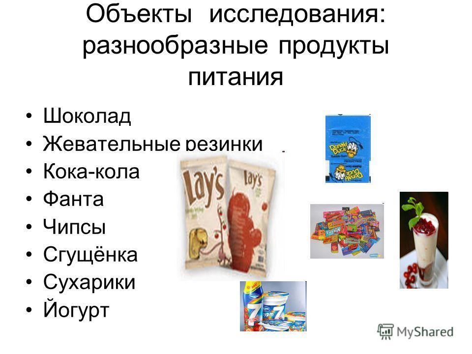 Объекты исследования: разнообразные продукты питания Шоколад Жевательные резинки Кока-кола Фанта Чипсы Сгущёнка Сухарики Йогурт