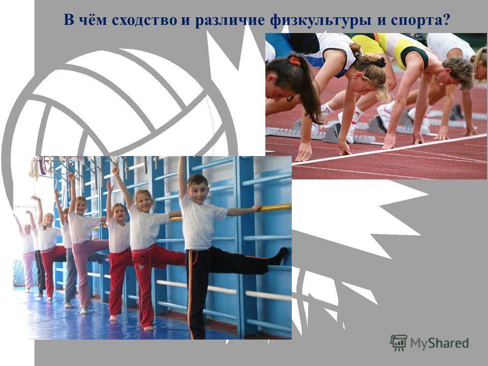 В чём сходство и различие физкультуры и спорта?