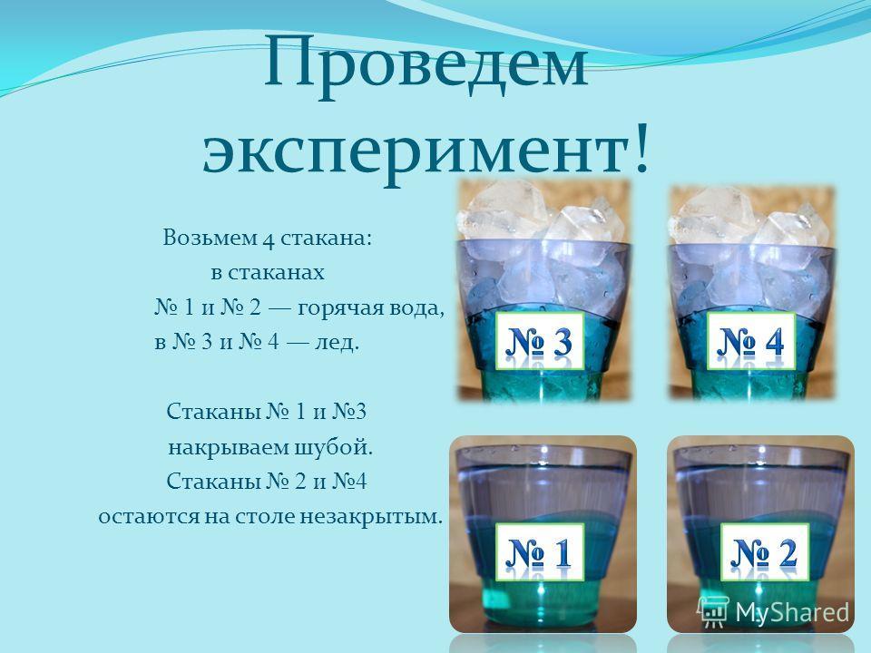 Проведем эксперимент! Возьмем 4 стакана: в стаканах 1 и 2 горячая вода, в 3 и 4 лед. Стаканы 1 и 3 накрываем шубой. Стаканы 2 и 4 остаются на столе незакрытым.