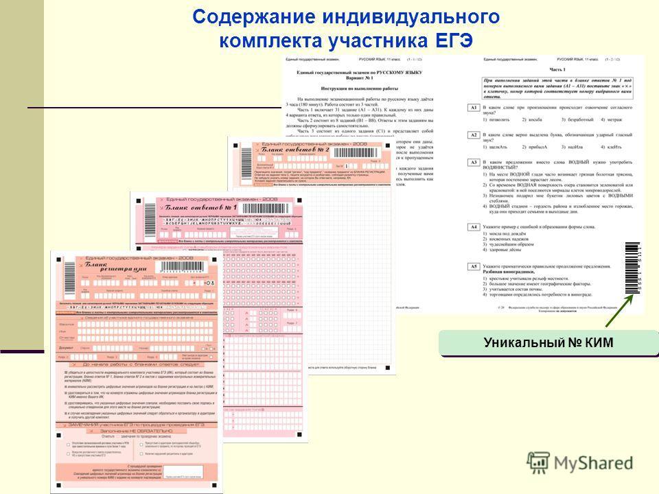 Содержание индивидуального комплекта участника ЕГЭ Уникальный КИМ